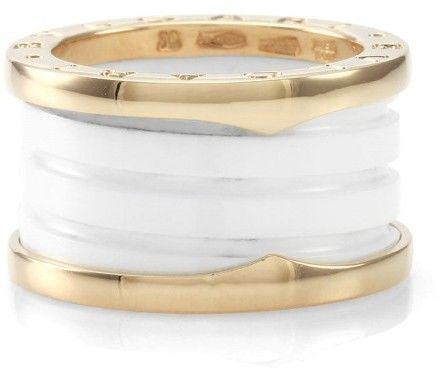 bulgari bzero1 white ceramic and 18k rose gold ring size 5