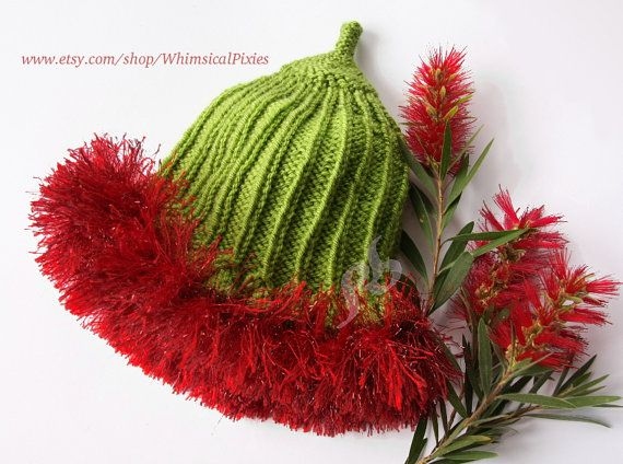 Knitted baby beanie: Australiana Gumnut Baby, Infant elf hat, 12-24 months, Photography prop