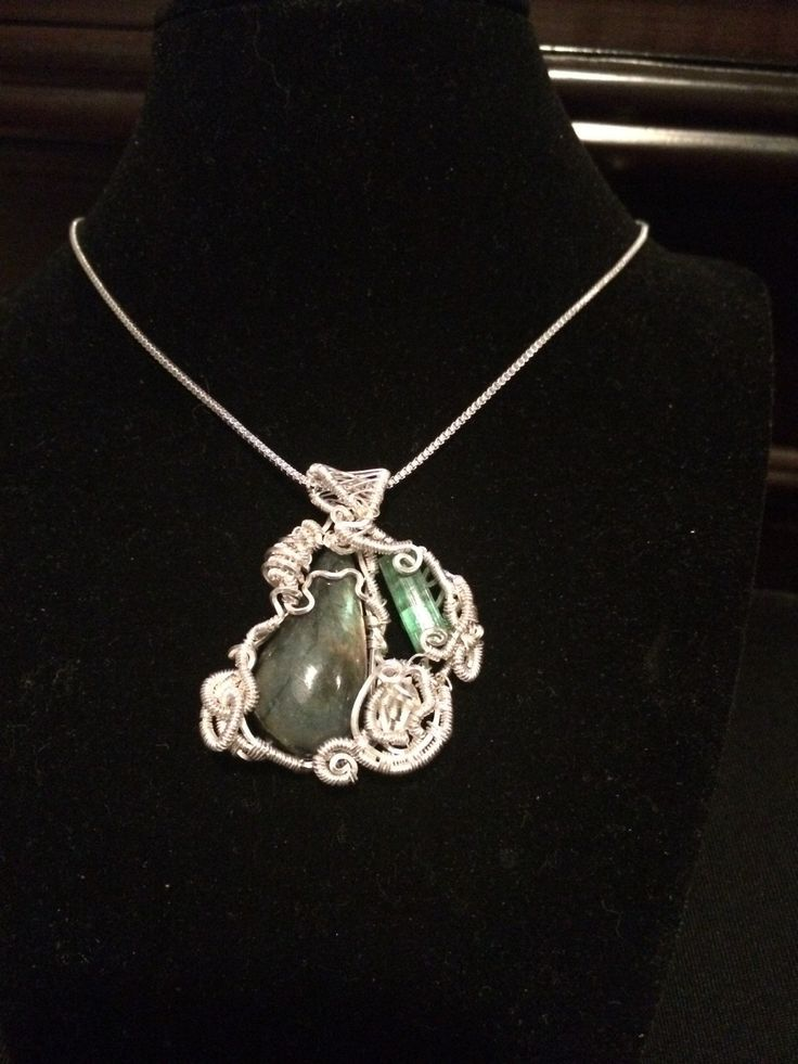 """Tourmaline / Herkimer Diamond and Labradorite Necklace/ Wire Wrapped / Gypsy Pendant / Sterling Silver Necklace / 20"""" box chain / by KannasTreasureTrove on Etsy"""