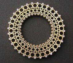 spirograph brooch - cognac & white diamonds