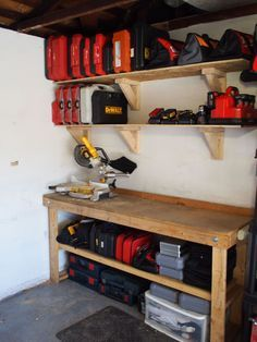 These storage shelves can be built from scrap 2 x4s and plywood, and are as strong as anything you'd buy from the store, but cost alot less money.