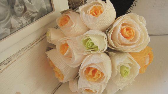 Wedding bouquet ORANGE-GREEN-WHITE by moniaflowers on Etsy