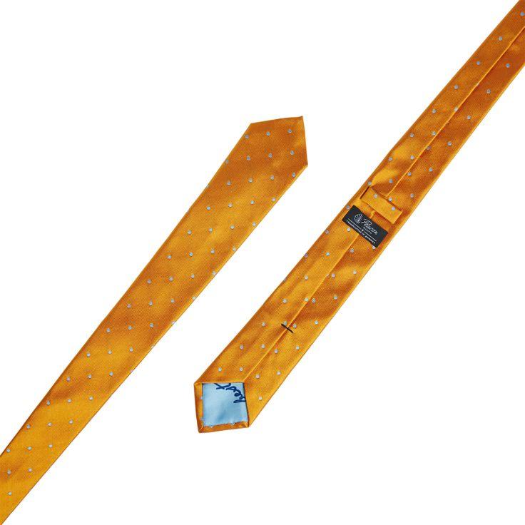 """Handcrafted saffron orange & light blue necktie """"Best Closer"""" made from finest Italian silk twill #gentleman #dapper #tieporn #handmade #menswear"""