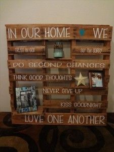 pallet ideas (3)  maybe do a table with these on the wall with quotes and have our engagement pictures on the shelves.