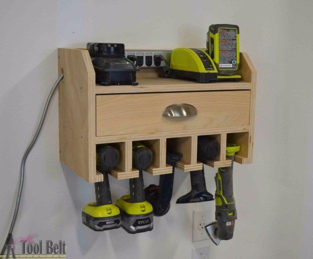 DIY Projects Your Garage Needs -Cordless Drill Storage Charging Station DIY - Do It Yourself Garage Makeover Ideas Include Storage, Organization, Shelves, and Project Plans for Cool New Garage Decor http://diyjoy.com/diy-projects-garage