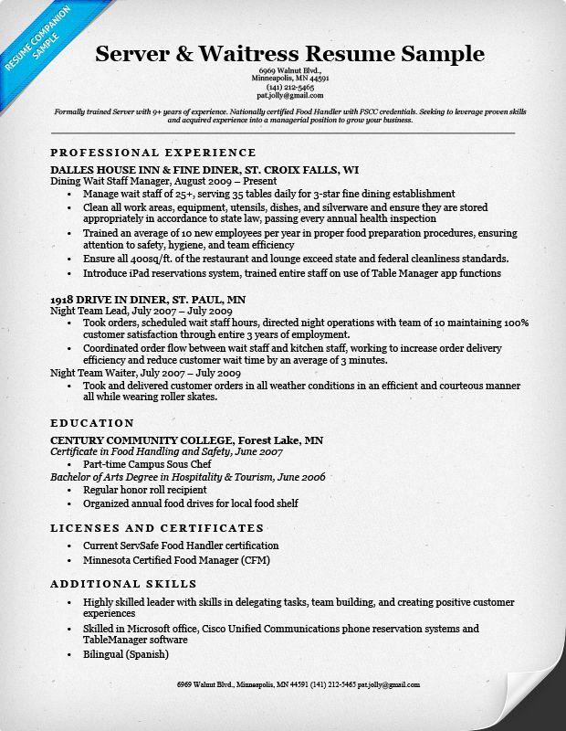 Server Waitress Resume Sample Server Resume Resume Cover Letter Template Resume Examples