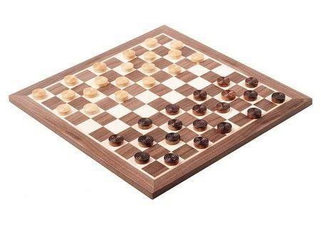 Plateau de jeu de dames française avec pions en bois: Coffret de jeu de dames, jeu en bois Coffret traditionnel de jeu de dames françaises,…