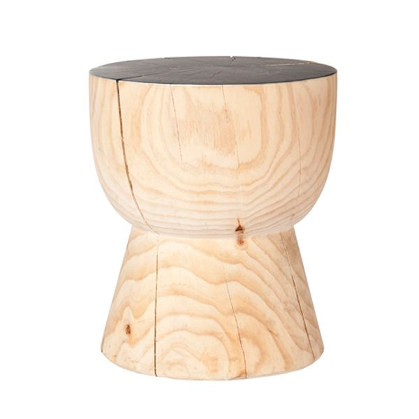 """MARK TUCKEY eggcup side table with painted top. what says """"Mark Tuckey"""" more than the eggcup stool? turned from solid radiata pine with a painted top available in white, domino or yellow..what colour will it be?"""