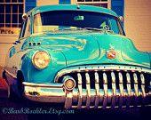 Classico 1950 Buick Super 8 - arte rustica parete - stampe d'arte auto - auto blu brillante - stampa retrò - fotografia di auto d'epoca - Garage Art - 8 x 10