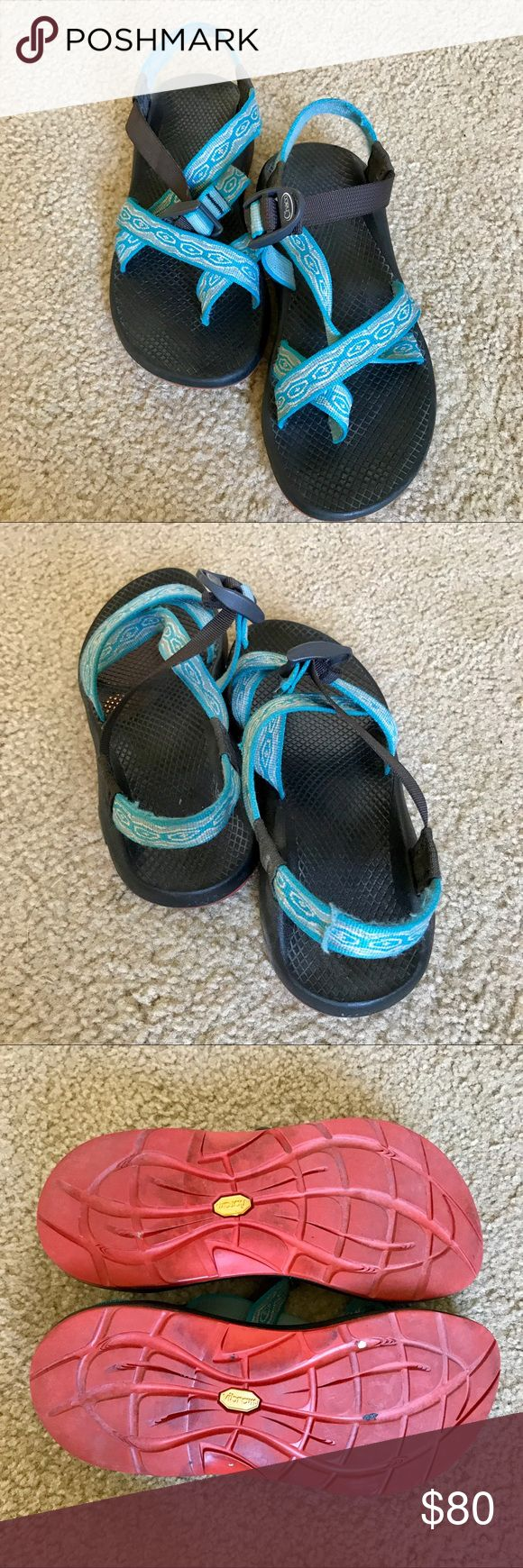 "Chaco Sandals! Women's size 8 Chacos! Blue patterned webbing with orange bottom! Love these but gotta make some $$ for pharmacy school! Open to offers and/or trades :) WOULD LOVE TO TRADE FOR A SOLID BLACK PAIR. These were ""rechaco'd"" by Chaco's repair program to change the pattern/color of the straps. This exact one is not sold in stores but only available by Sending them to Chaco and paying for a re-Chaco! Chaco Shoes Sandals"
