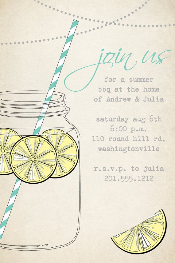 1ef5248d93dc VINTAGE Mason Jar BBQ Lemonade Barbeque Party Engagement Party Rehearsal Dinner  Invitation - Printable digital file or printed invitations in 2019 ...