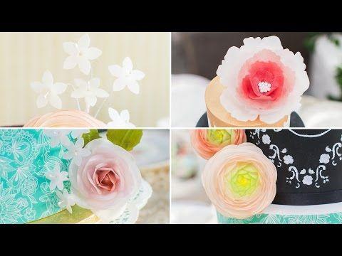 Cómo hacer flores con papel de arroz o wafer paper - Tutorial - María Lunarillos | tienda & blog - YouTube