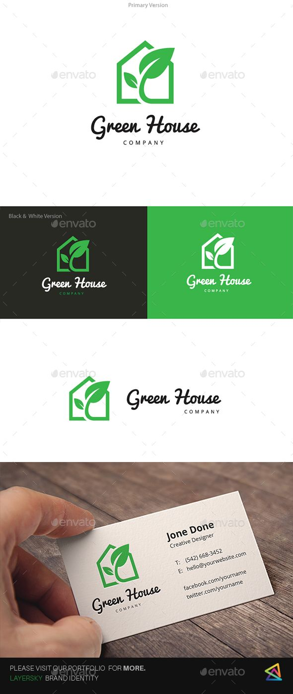 Green House Logo by LayerSky This logo design for all creative business. Consulting, Excellent logo,simple and unique concept. Logo Template FeaturesAI and EPS
