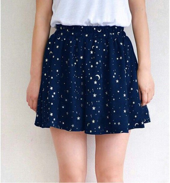 Wheretoget - Dark blue galaxy print skirt