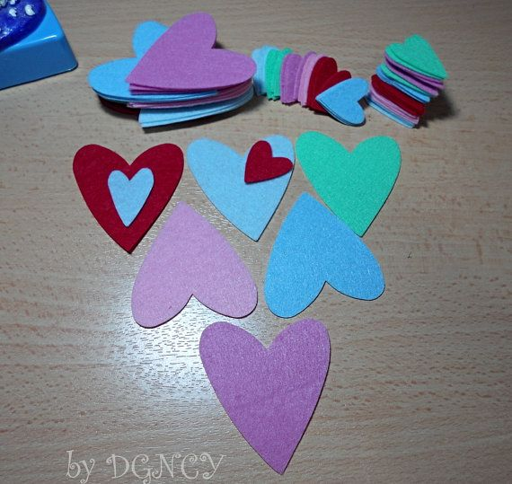 72 pcs Die cut felt heartcraft suppliesFelt shapes by DGNCY