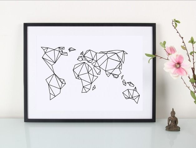 Artprint Geometrische Erde // art print geometrical world by EULENSCHNITT via DaWanda.com