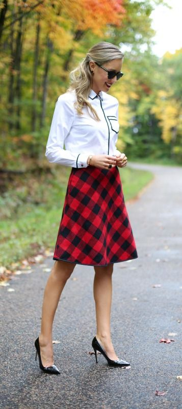 buffalo check plaid midi skirt, black patent pumps with brogue detail + structured black wool cape     http://www.theclassycubicle.com/2014/10/lumberjack-lady.html
