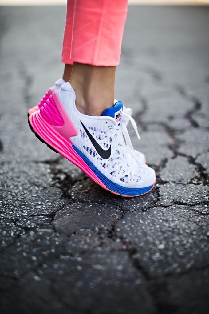 Nike Lunarglide 6: White/Hyper-Punch/Blue. Running Shoes NikeLadies ...