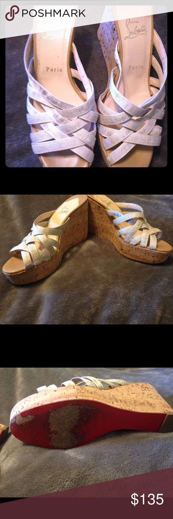 Christian Loubutin cork sandals Made in Spain,size 40,they are preloved ,beautiful shoes 👠 made with cork and the signature red sole that's made of wood ,as far as the sizing goes they run smaller Christian Louboutin Shoes Platforms