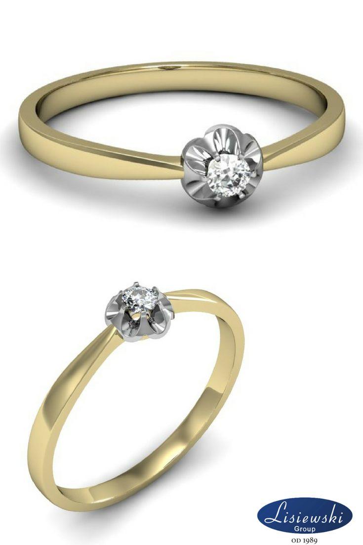 Biało żółty pierścionek z diamentem || White-Yellow golden ring with diamond #goldjewellery