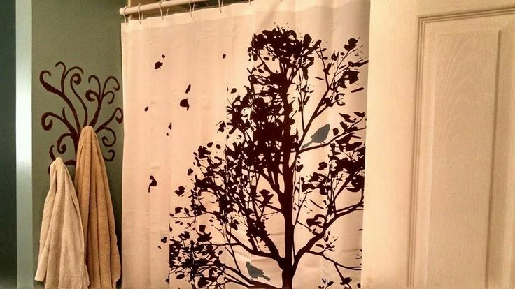 Bird Shower Curtain And Painted Tree Towel Holder Bird