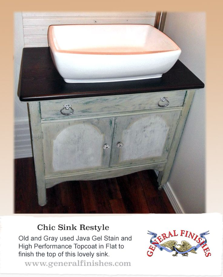 This sink vanity got a great restoration with General Finishes Java Gel Stain topped with High Performance Top Coat. Looking for place to buy GF products? You can find our paints, glazes, water based and oil based stains and topcoats Woodcraft Stores and Amazon or use your zip code to find a retailer near you at http://generalfinishes.com/where-buy#.UvASj1M3mIY. Limited selections also available at Rockler Woodworking in U.S. and www.leevalley.com in Canada.