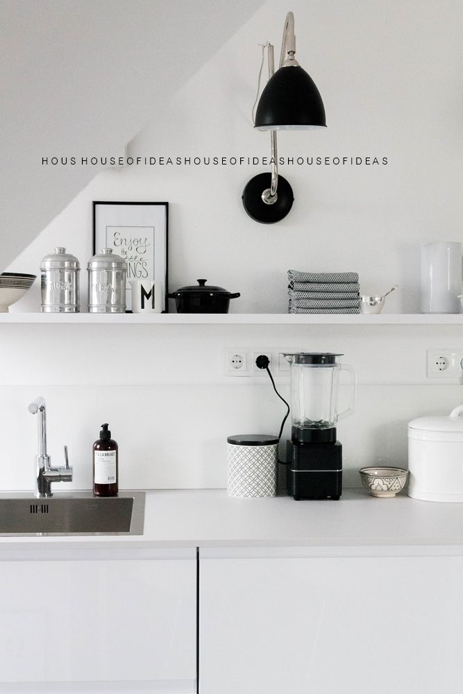 beautiful black and white kitchen