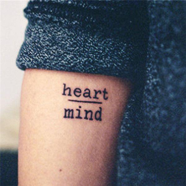 HC1113 Impermeables Pegatinas de Tatuaje Temporal Miedo Coraje Mente Corazón Diseño Cartas de Transferencia de Agua Del Tatuaje Harajuku Tatuaje de la Falsificación