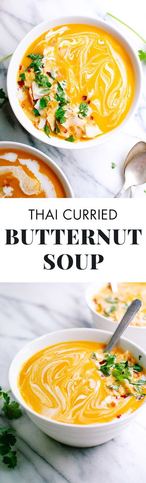 This gorgeous Thai curried butternut soup recipe tastes as good as it looks! You're going to love it. Vegetarian and vegan.