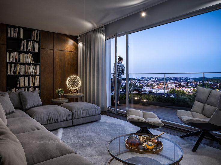 interior, architecture, design, modern, light, 3d, graphic, cgi, render, balcony, terrace, view, plant