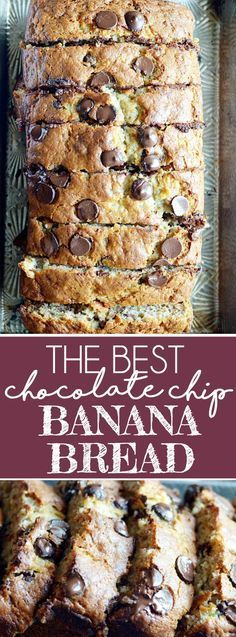 My mom's banana bread is full of chocolate chips and is SUPER soft and moist thanks to 4 whole bananas and a little bit of oil. It's the best!