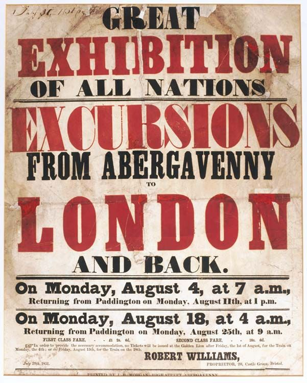 Poster advertising a trip to the Great Exhibition from Abergavenny, 1851