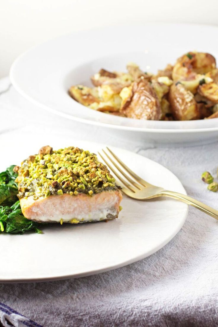 Pistachio Crusted Salmon with Garlicky Smashed Potatoes ...