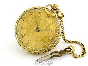 Obiecte de arta, Vanzari, cumparari, Ceas de buzunar aur18k englezesc cu cheie anul 1880 , imaginea 1 din 4
