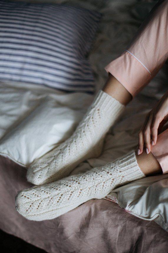 e7233dc1240 Cable socks   Knitted socks   Off white handmade socks  Gift for Woman   Wool socks  Cable knit socks
