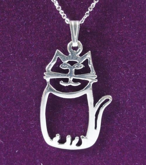 Silver Sitting Cat Outline Cat Pendant £18.99