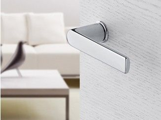 Brass door handle on rose with lock MINI-ROSES   Brass door handle - HOPPE