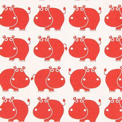 Cretonne Hippo 1 - Bomuld - signalerød
