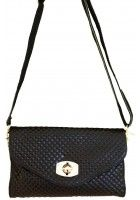 Astie -- Small Black Leather Crossbody Bag / Handbag