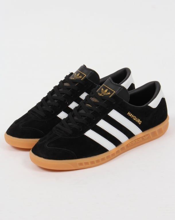 Adidas Hamburg Trainers BlackWhiteGum,originals,shoes,mens