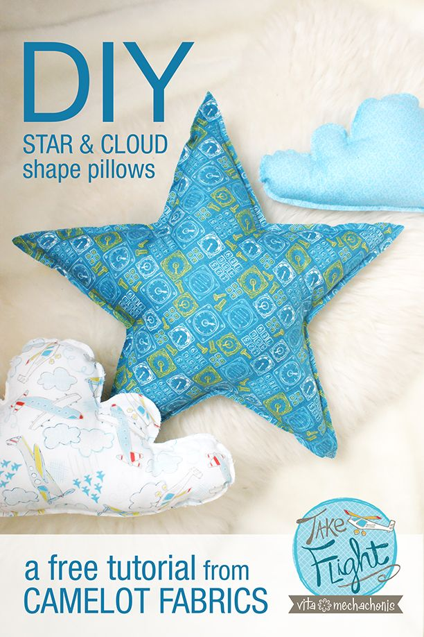 Star and Cloud pillow from Camelot Fabrics. Click through to get the tutorial.