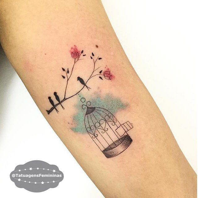 "12k Likes, 133 Comments - Tatuagens • Tattoos  1,6m (@tatuagensfemininas) on Instagram: ""Linhas finas / Gaiola e Pássaros / Birdcage n' birds • Tattoo Artist:  @Carlagalvaotattoo .…"""