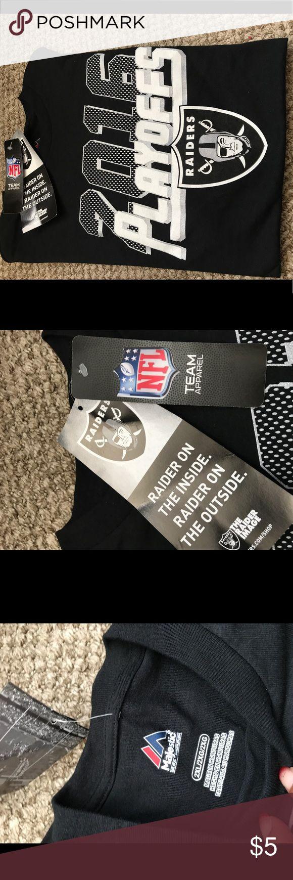 New ⭐️ Men's Raiders Shirt (Size 2XL) 🏈 Brand New with Tags Raiders Shirt  Mens 2XL 100 % Cotton Shirts Tees - Short Sleeve