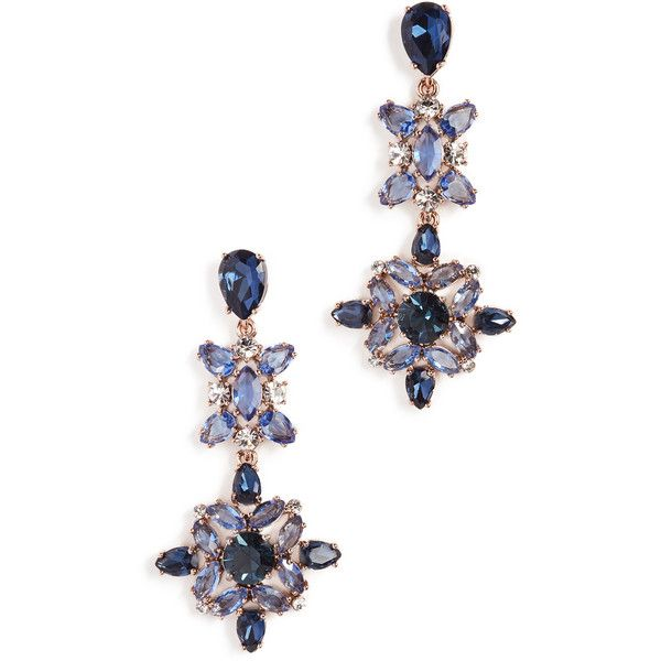 Kate Spade New York Snowy Nights Linear Statement Earrings (125 BAM) ❤ liked on Polyvore featuring jewelry, earrings, navy multi, 14k jewelry, statement earrings, 14 karat gold earrings, navy earrings and navy jewelry