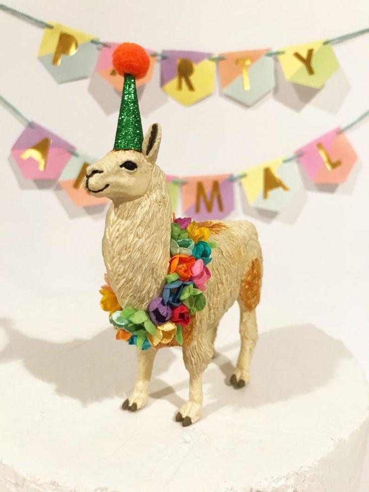 Birthday llama cake topper party animal cake topper llama