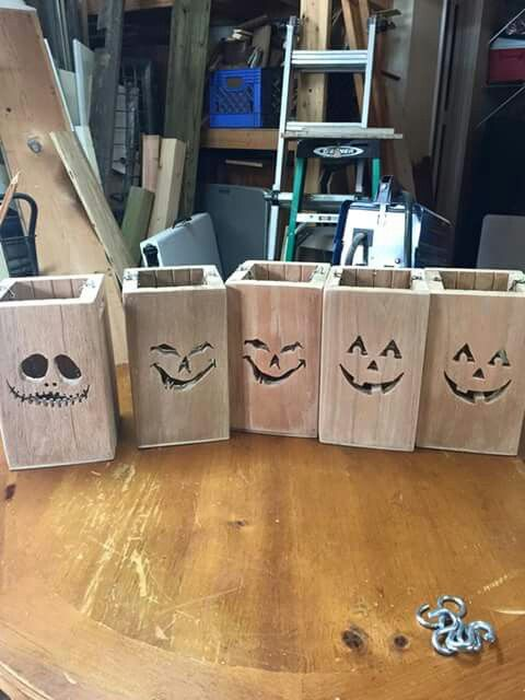 Wooden luminaries, just put a candle inside