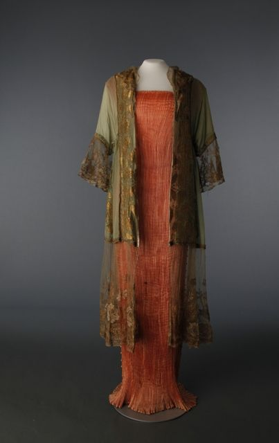 Delphos dress, 2010.29.1, Mariano Fortuny, Silk & glass , Circa 1919, Italy, DHCC purchase and Negligee, no accession number, Silk & metallic lace, Circa 1912, France  KJ~ so far this is my favorite