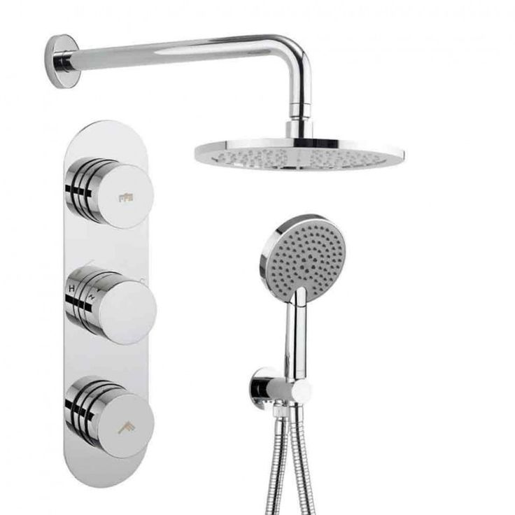 Perfect Crosswater Dial Central Concealed Thermostatic Outlet Shower Valve with Fixed Head and Mode Shower