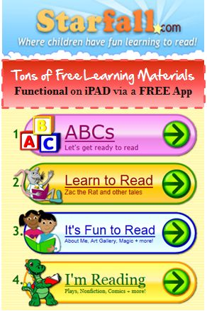 We love Starfall website for the great free reading program. However it use flash, means it doesn't run on iPAD. Fortunately, with the help of a free app, you can access the website - fully functional like on computers #kidsapps #freeapps