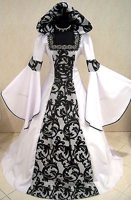 mittelalter kleid gothic hochzeit kost m s m 38 40 42 wei verkleidung karneval mittelalter d. Black Bedroom Furniture Sets. Home Design Ideas